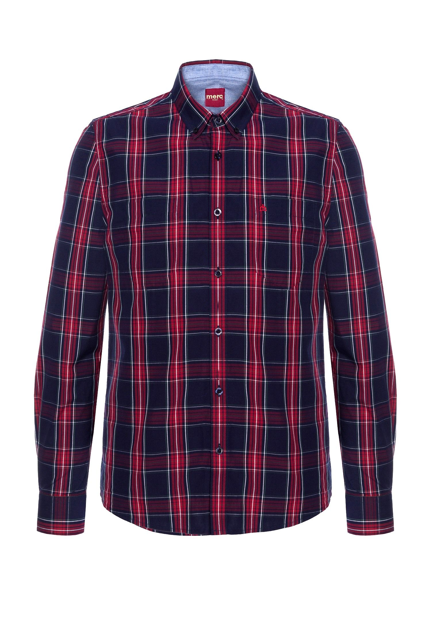 Harcourt Mens Long Sleeve Cotton Shirt With Large Check Pattern In Navy