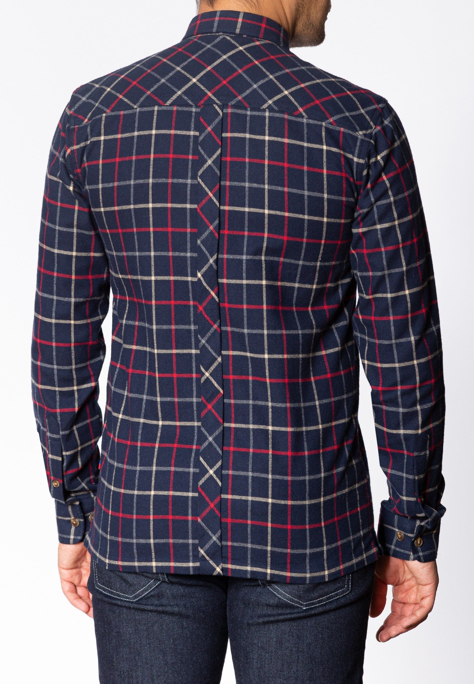 Quarry Mens Long Sleeve Flannel Shirt With Large Check Pattern In Navy
