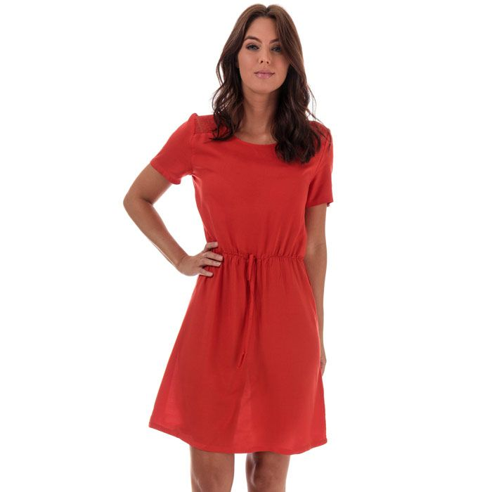 Women's Jacqueline de Yong Summer Lace Trim Dress in Red