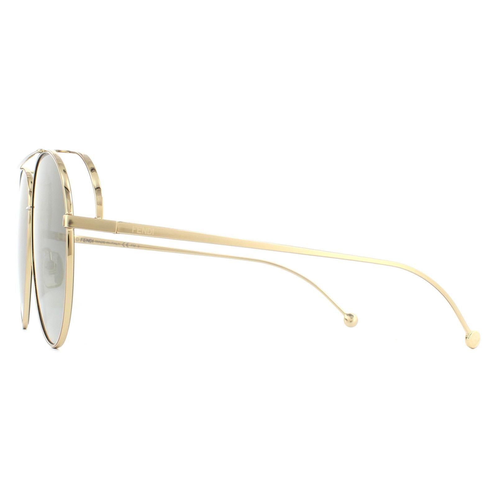 Fendi Sunglasses FF 0286/S J5G FQ Gold Grey Gradient Gold Mirror