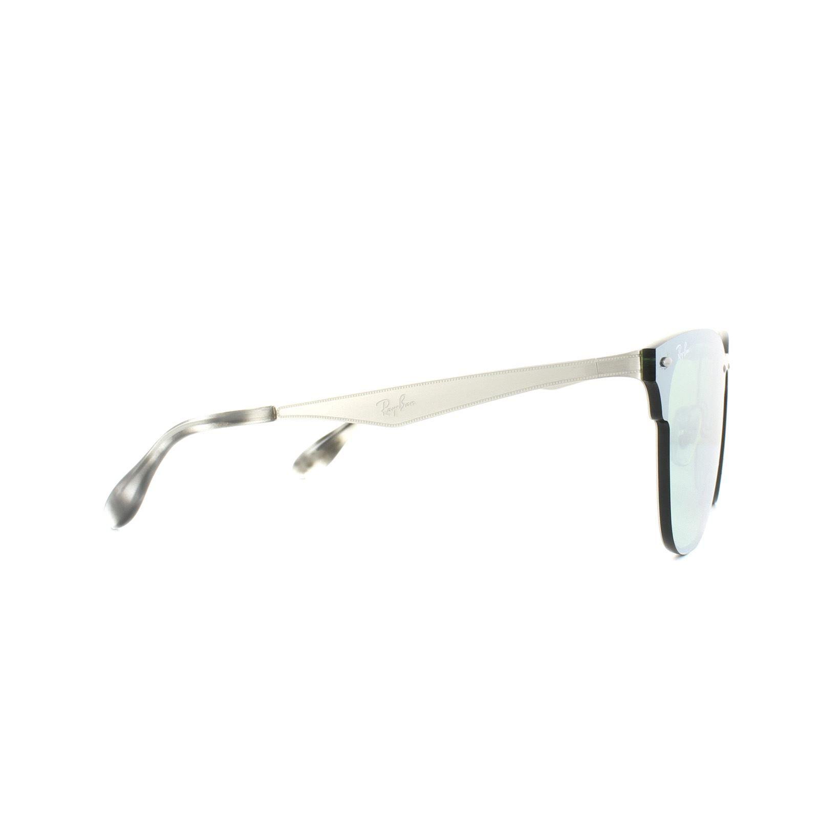 Ray-Ban Sunglasses Blaze Clubmaster 3576N 042/30 Silver Dark Green Silver Mirror Small