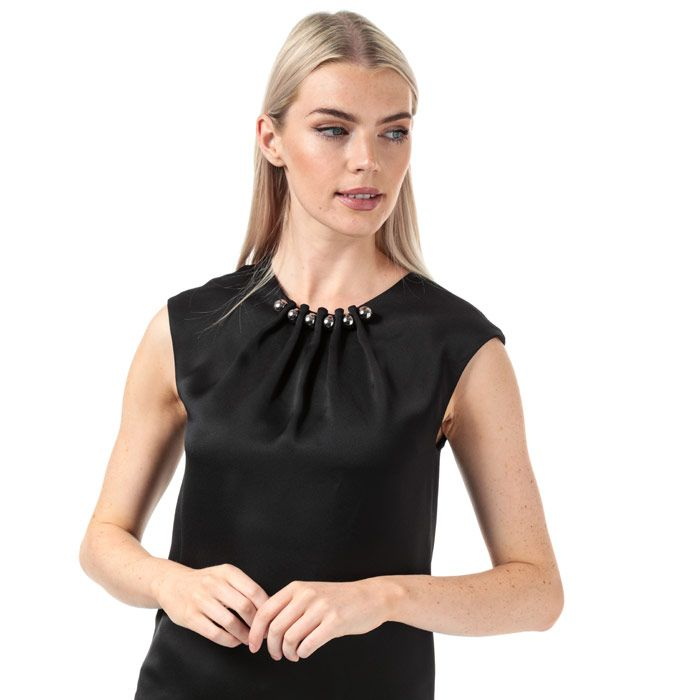 Women's Ted Baker Camble Folded Bead Neck Top in Black