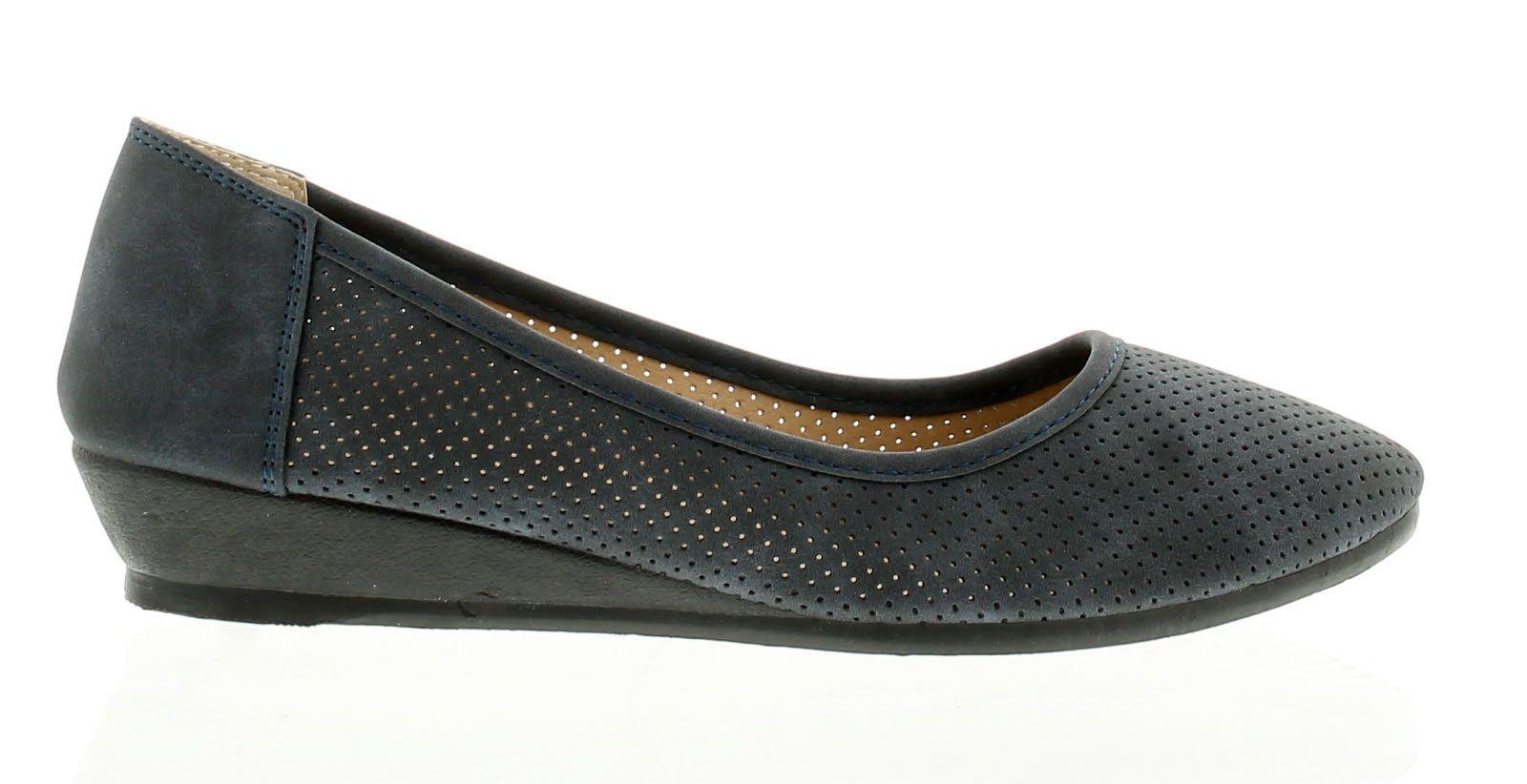 Platino Tarka Womens Ladies Wedge Shoes Navy