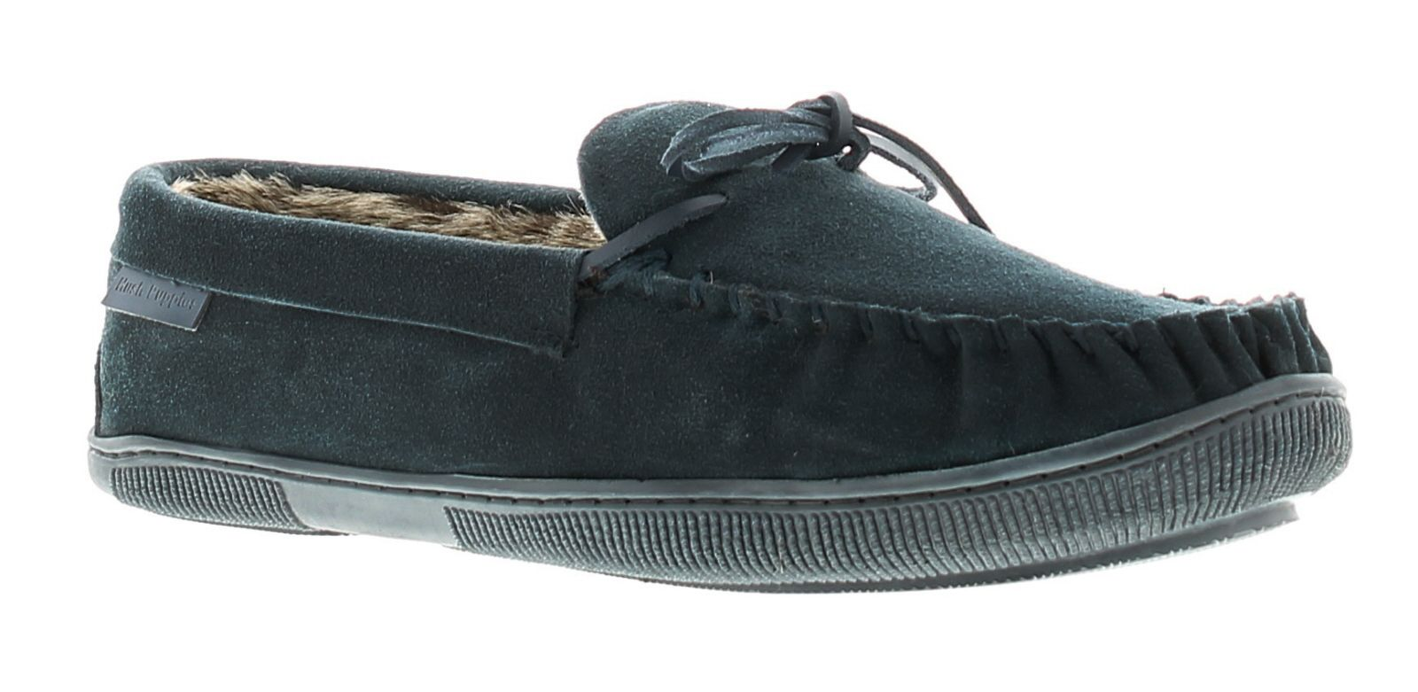 Hush Puppies ace leather mens full slippers navy