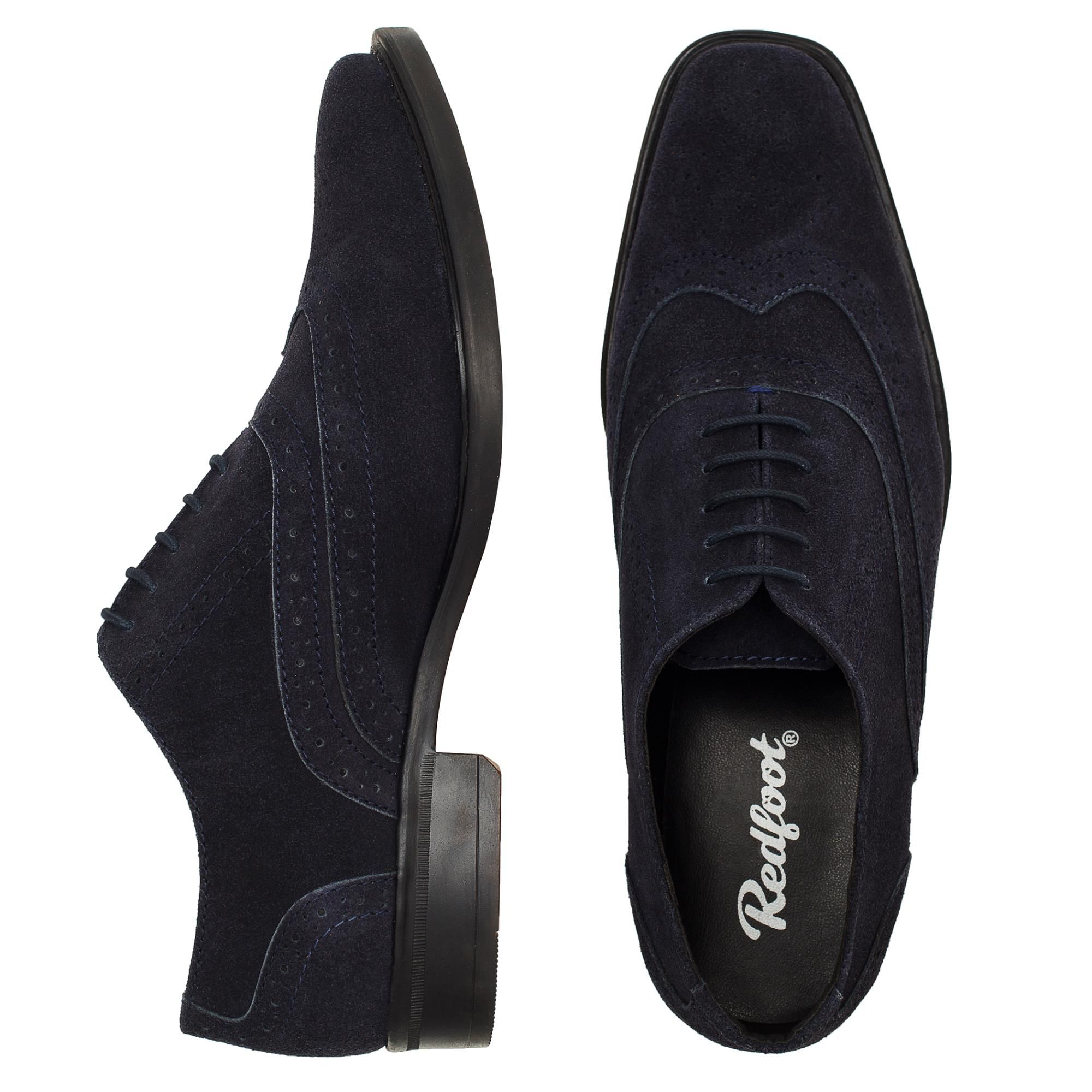 Redfoot Porter Navy Suede Brogue