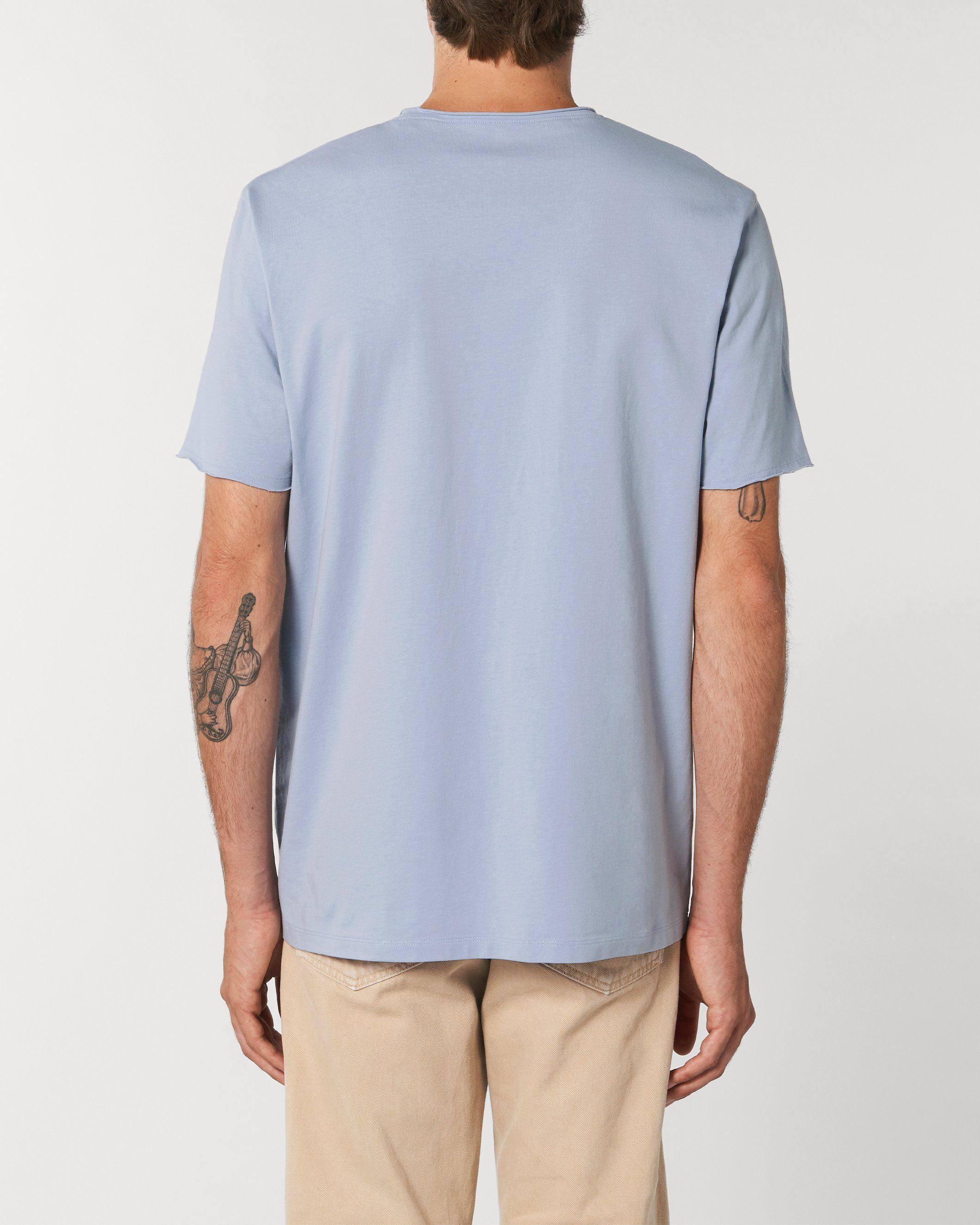Guru Unisex Raw Edge T-Shirt in Blue