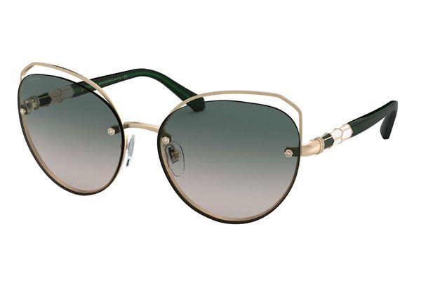 Bvlgari Cat eye metal Unisex Sunglasses Pink Gold / Light Brown / Green Gradient