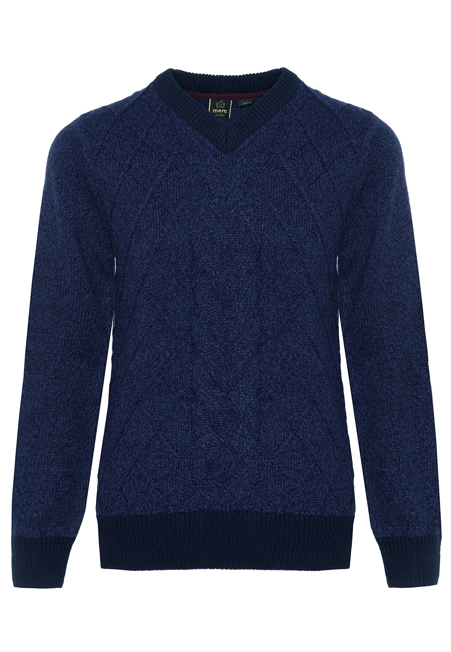 Hatcliffe Cable V-Neck Jumper With Ribbed Hem And Cuffs In Navy Marl