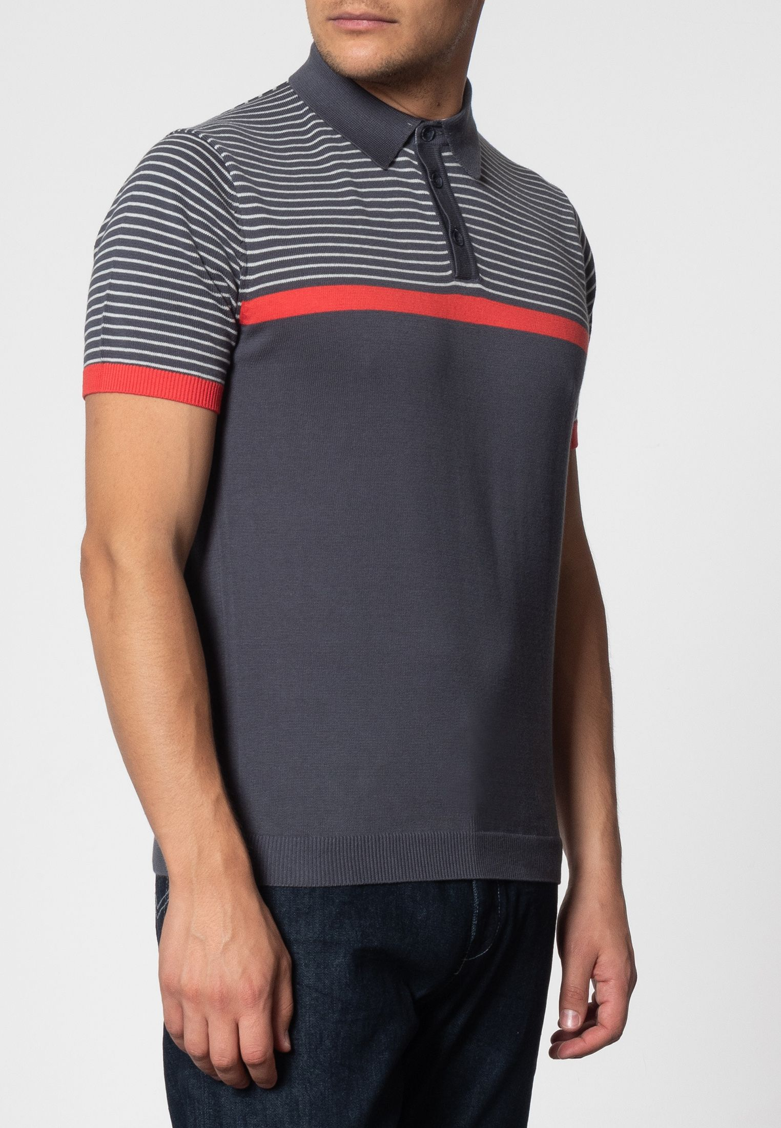 Blake Shoulder Stripe Knit Polo With Ribbed Hem In Charcoal