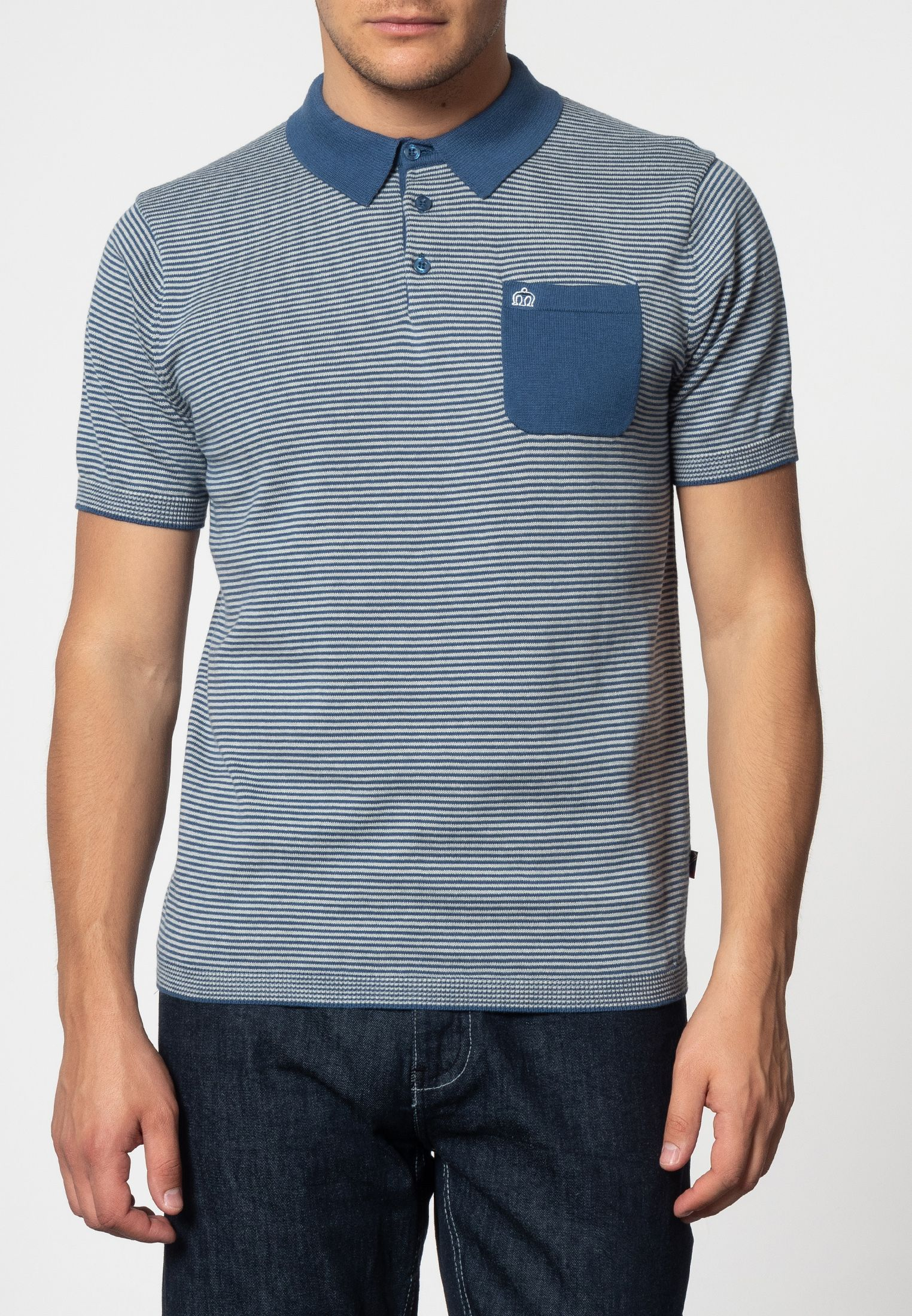 Pascal Vertical Stripes Knit Polo With Chest Pocket In Bright Blue