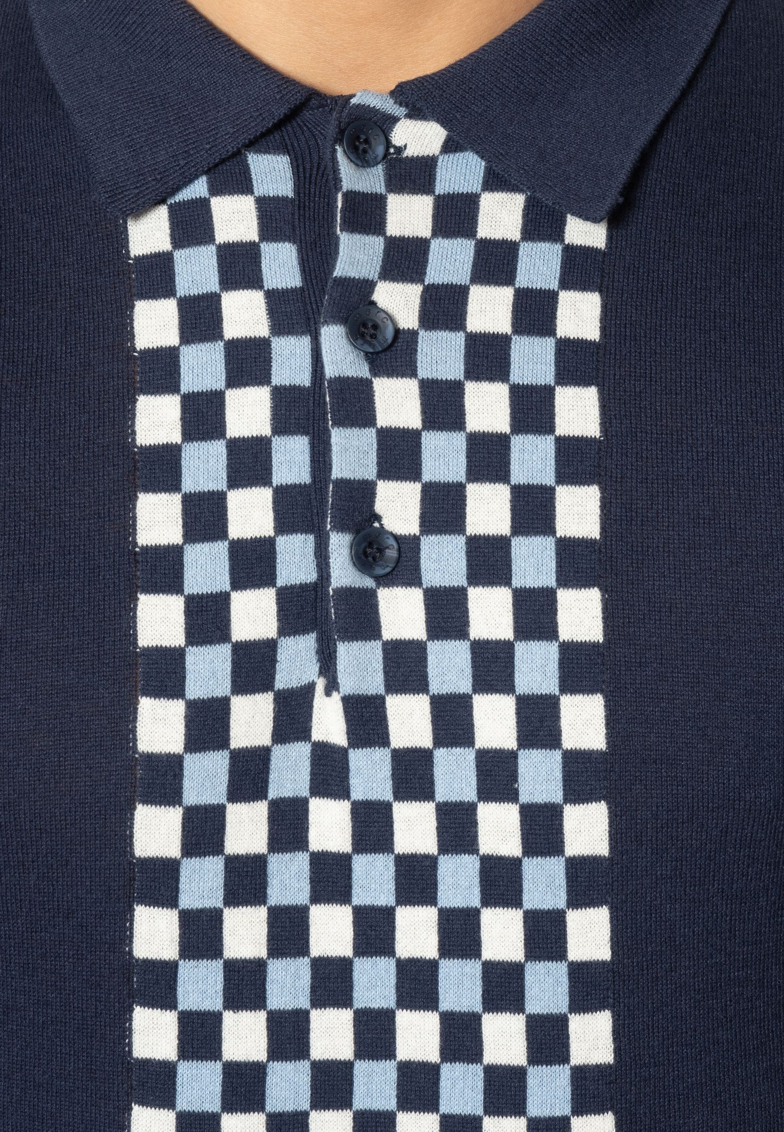 Jarvis Short Sleeve Knit Polo With Check Panel In Navy
