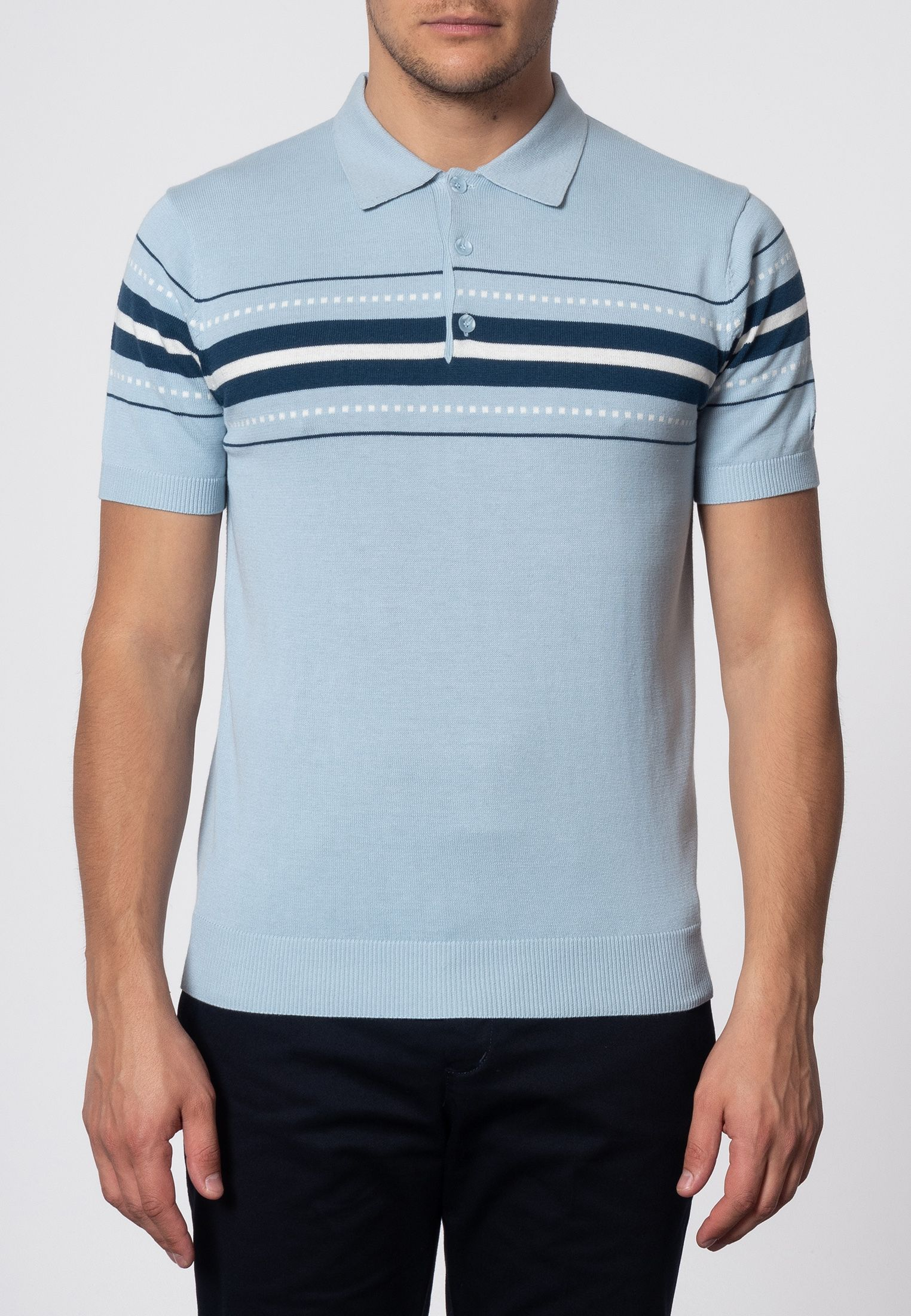 Tanner Chest Stripe Knit Polo In Sky