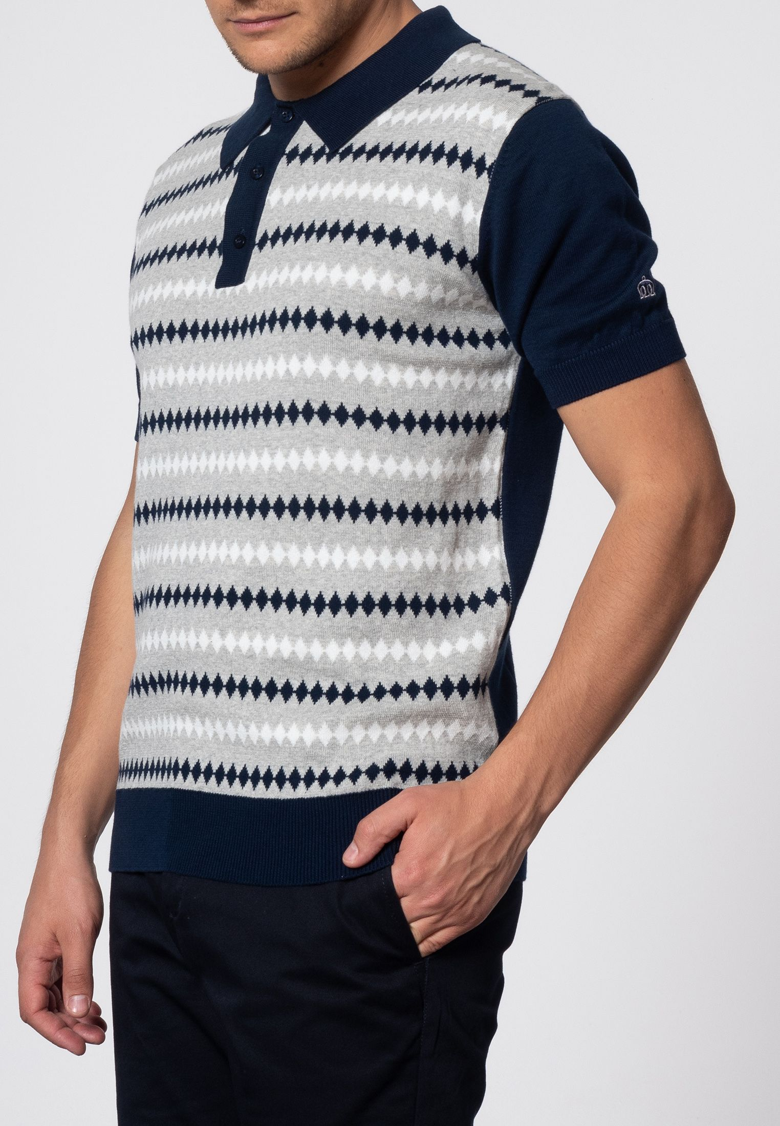 Farley Diamond Jacquard Knit Polo In Navy