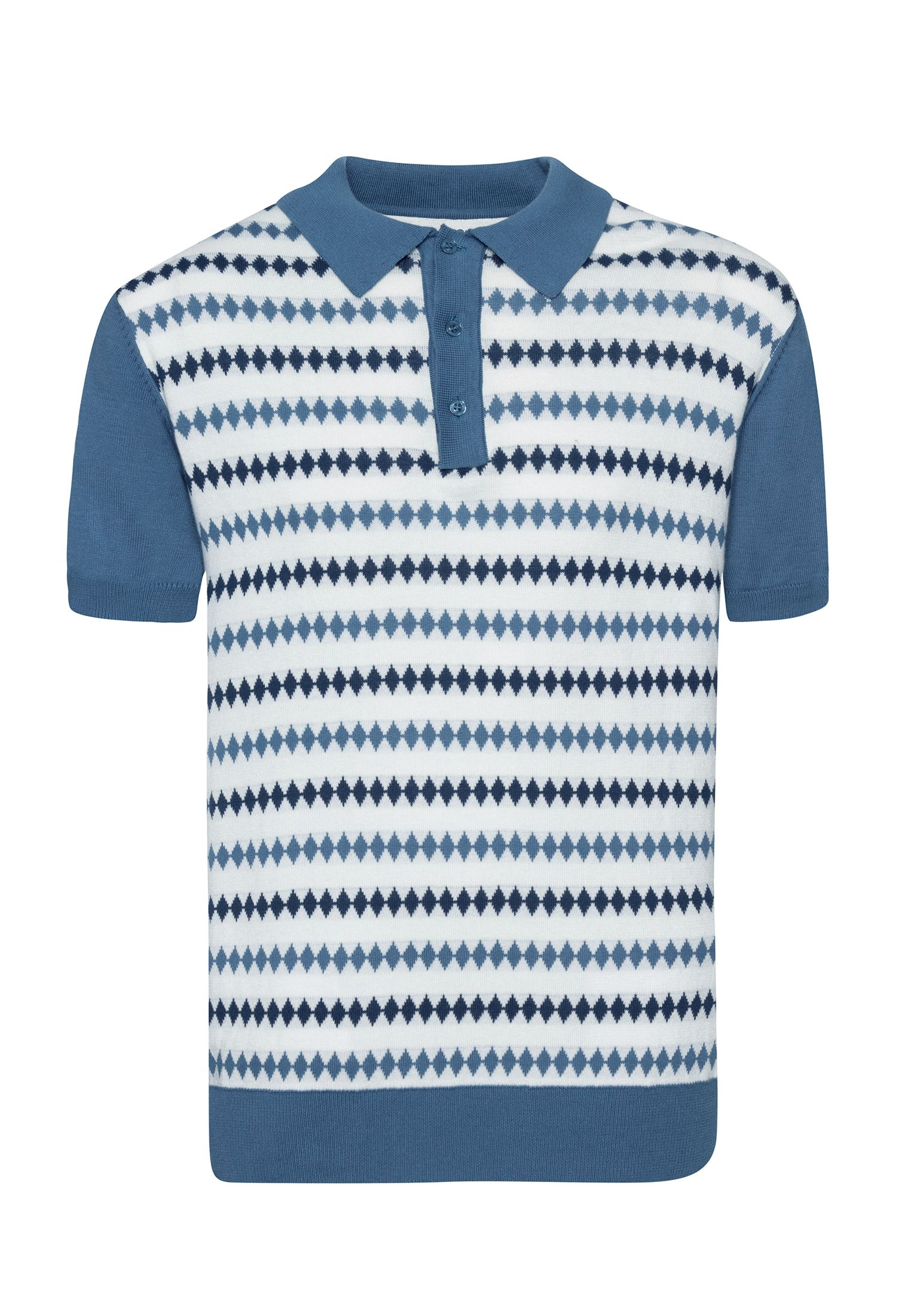 Farley Diamond Jacquard Knit Polo In Vintage Blue