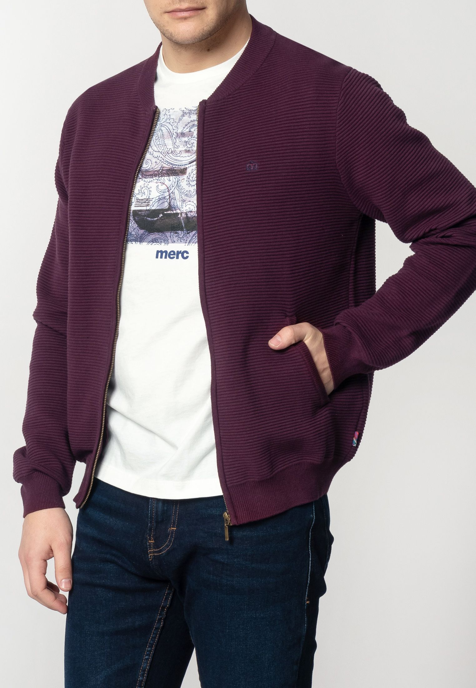 Booth Mens Chunky Cotton Cardigan With Ripple Detailing In Mahogany