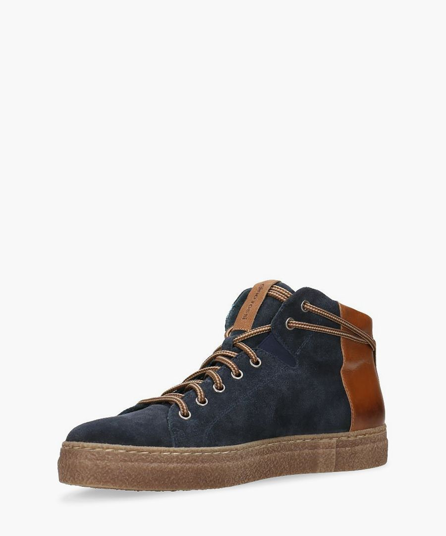 Navy and tan suede trainers