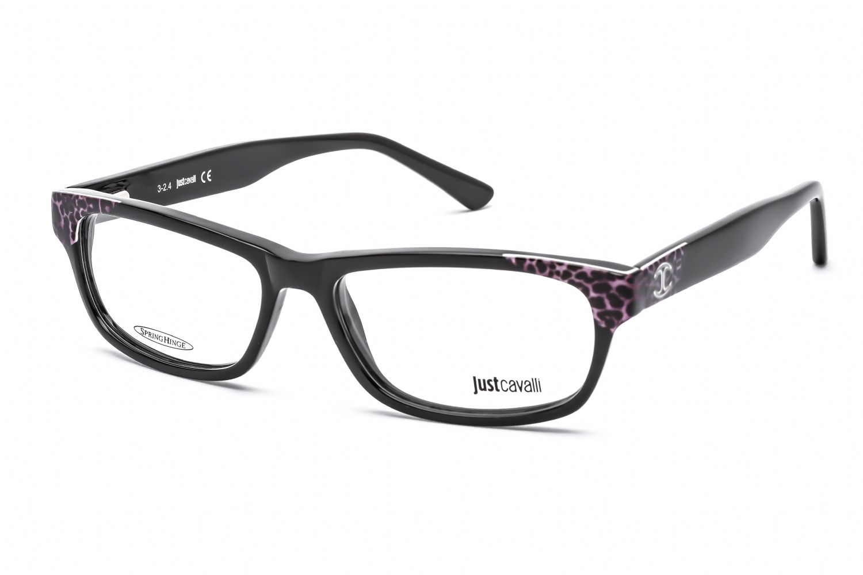 Just Cavalli Rectangular acetate Women Eyeglasses Black Spotted / Clear Lens