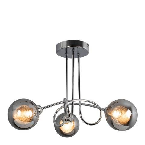 Xena Polished Chrome and Smoked Glass 3 Light Semi Flush Ceiling Light