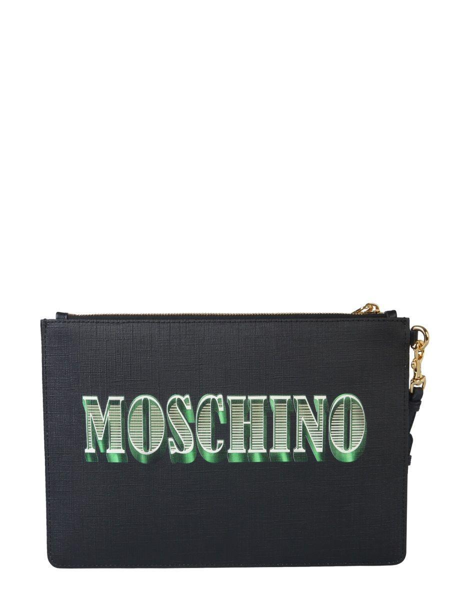 MOSCHINO WOMEN'S A844482103555 BLACK POLYURETHANE POUCH