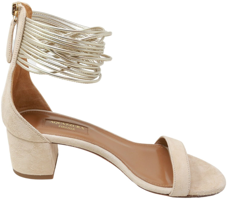 Aquazurra Firenze Women's Smamidso Suede Sandal High-Top Leather Heel