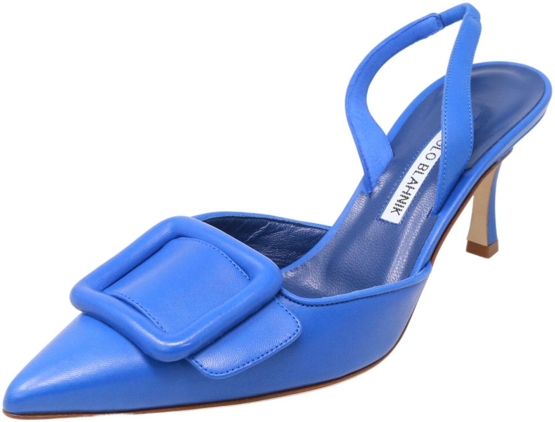 Manolo Blahnik Women's Maysli Nappa Ankle-High Leather Slingback