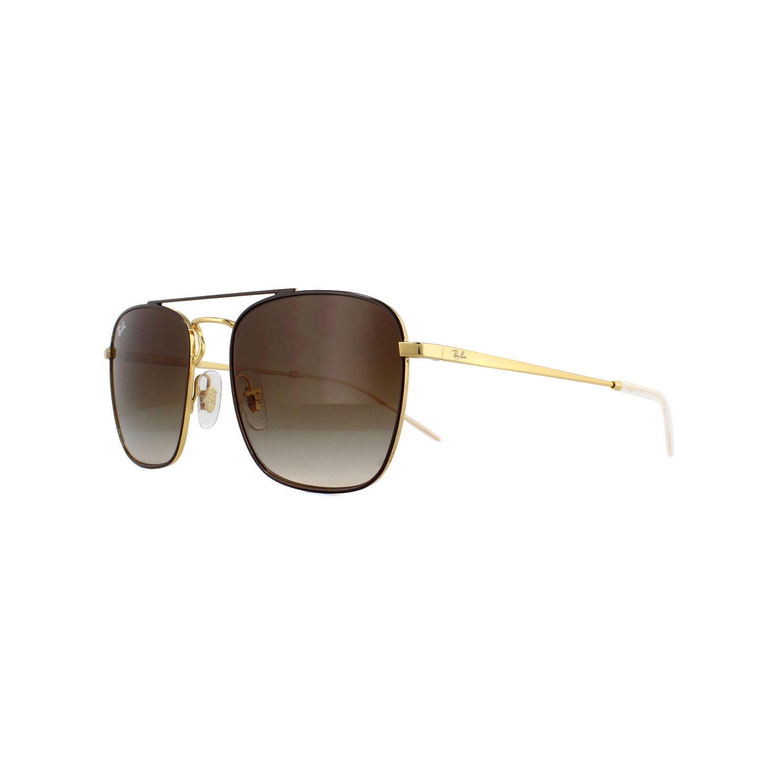 Ray-Ban Sunglasses 3588 905513 Gold Top On Brown Brown Gradient Dark Brown