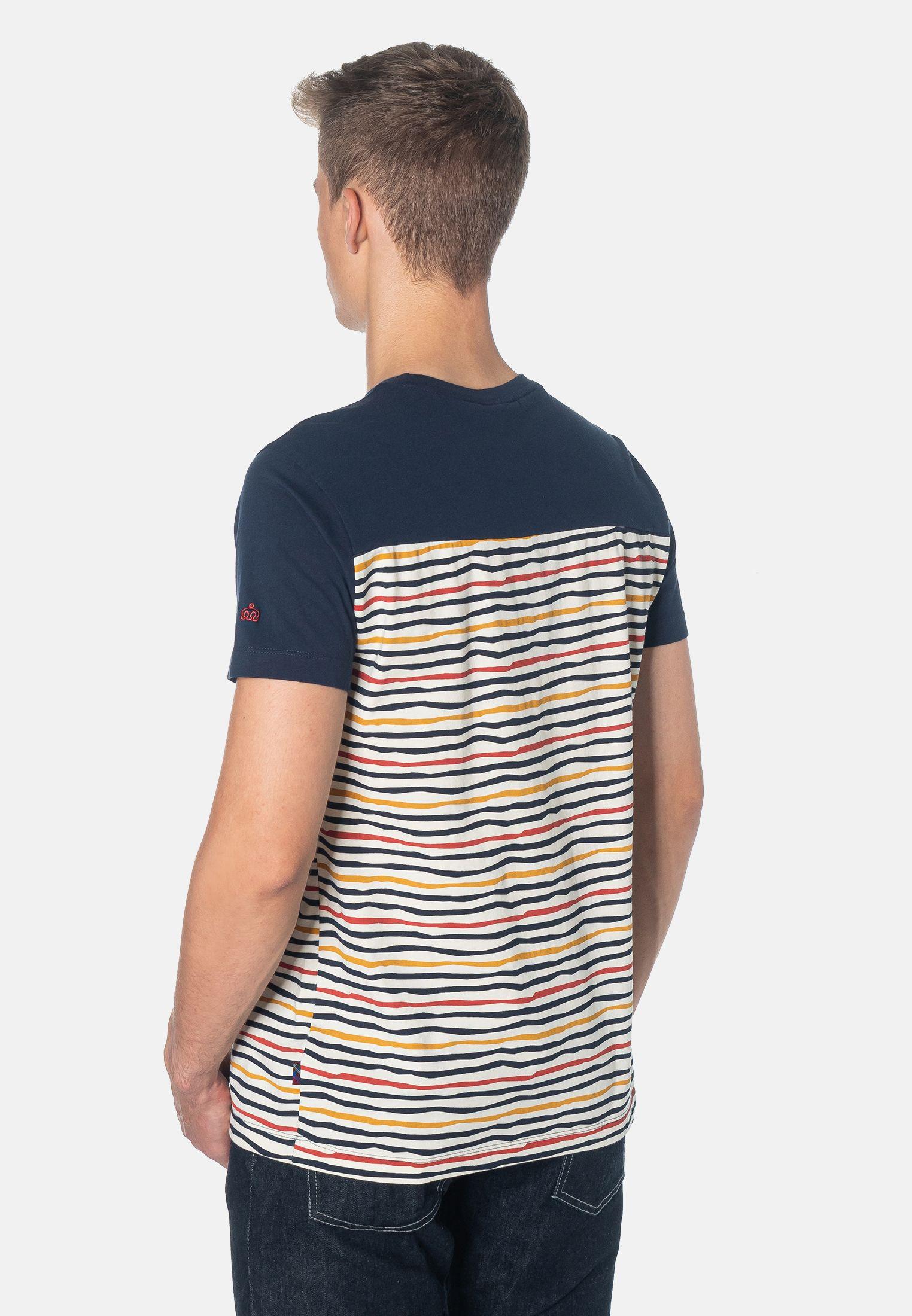 Bowman Multi Colour Stripes Men's T-Shirt in Navy