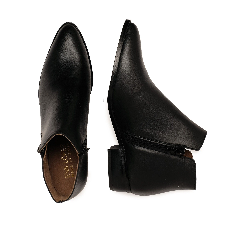 Eva López Leather Ankle Boots Black Women's