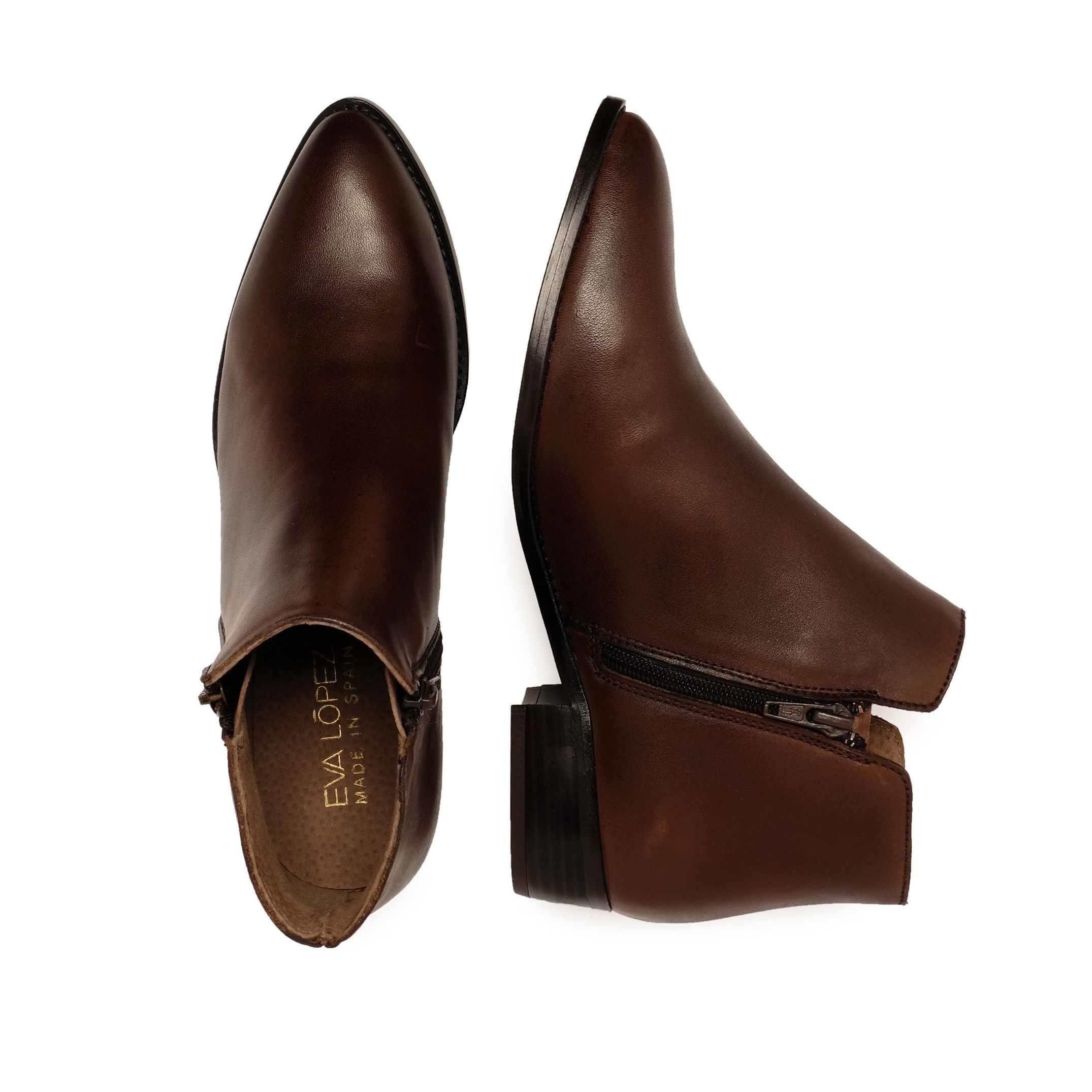Eva López Leather Ankle Boots Brown Women's