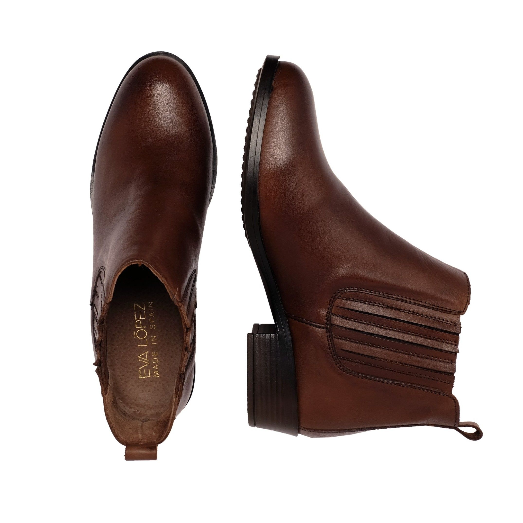 Eva López Leather Ankle Boots Brown Woman