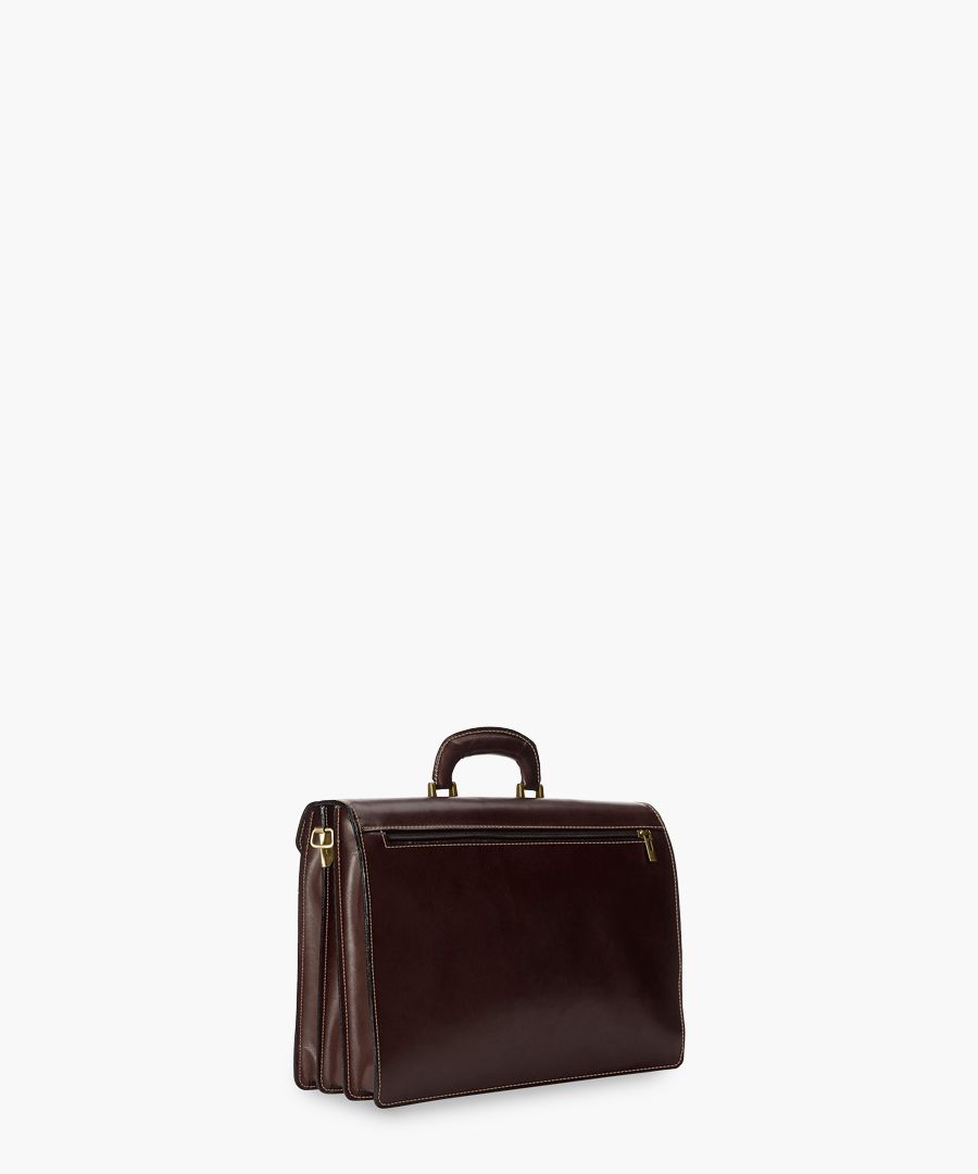 Dark brown leather satchel