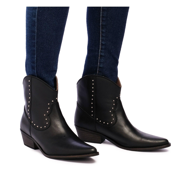 Eva López Leather Ankle Boots Cowboy Black Woman