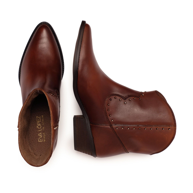 Eva López Leather Ankle Boots Cowboy Brown Woman
