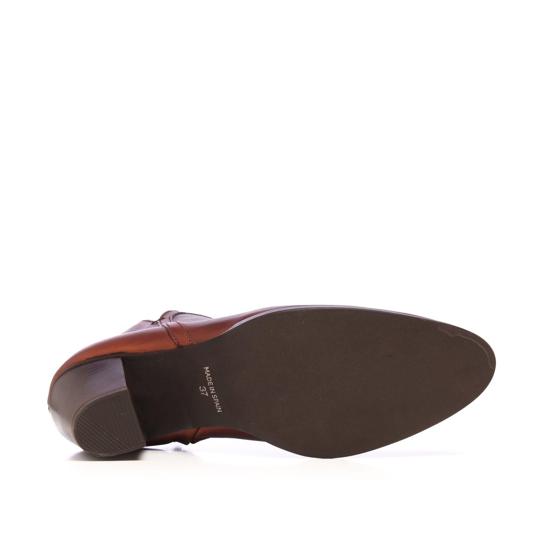 Eva López Leather Ankle Boots Heel Brown Women's