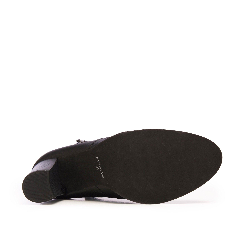 Eva López Leather Ankle Boots Heel Black Women's