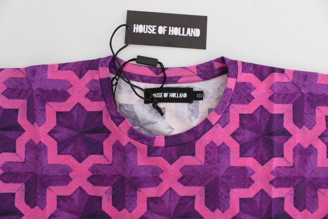 House of Holland Pink Purple Cotton Motive T-shirt