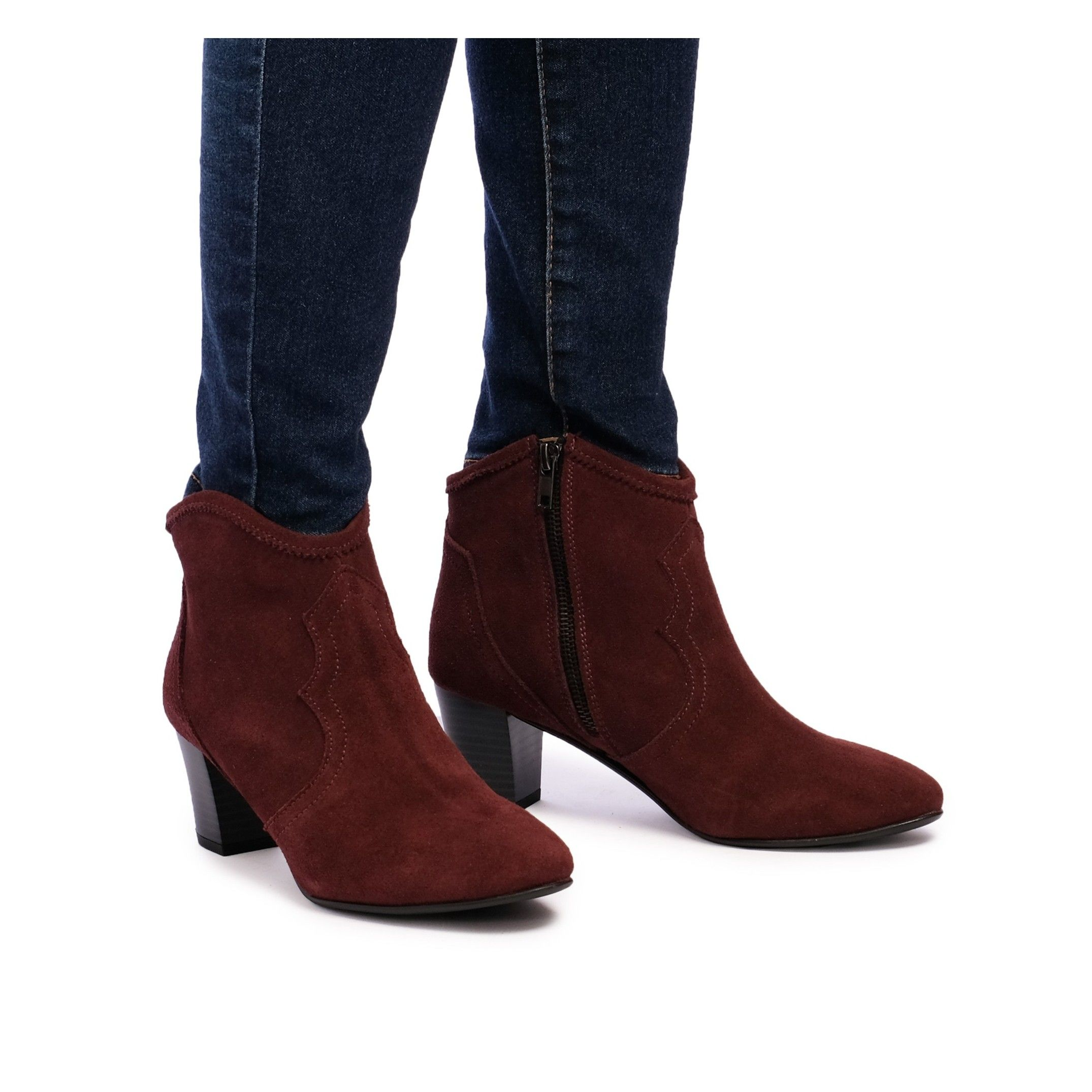 Eva López Leather Ankle Boots Heel Bordeaux Woman