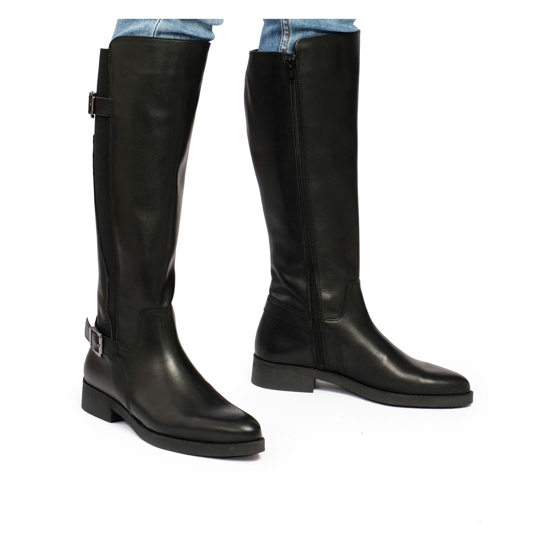 Eva López Leather High Boot Heel Women Black