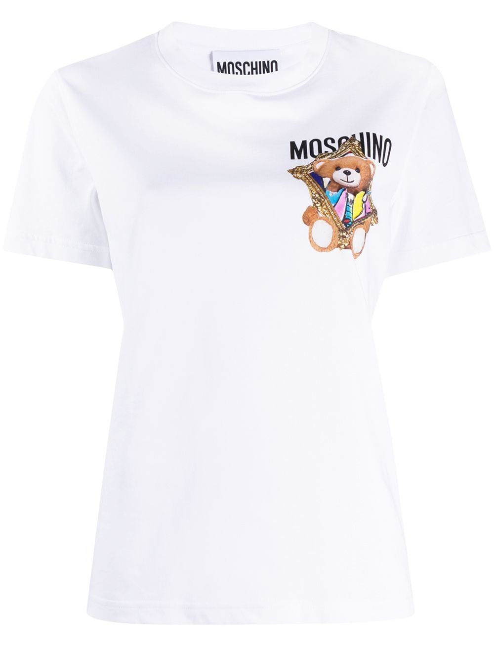 MOSCHINO WOMEN'S V070404401001 WHITE COTTON T-SHIRT