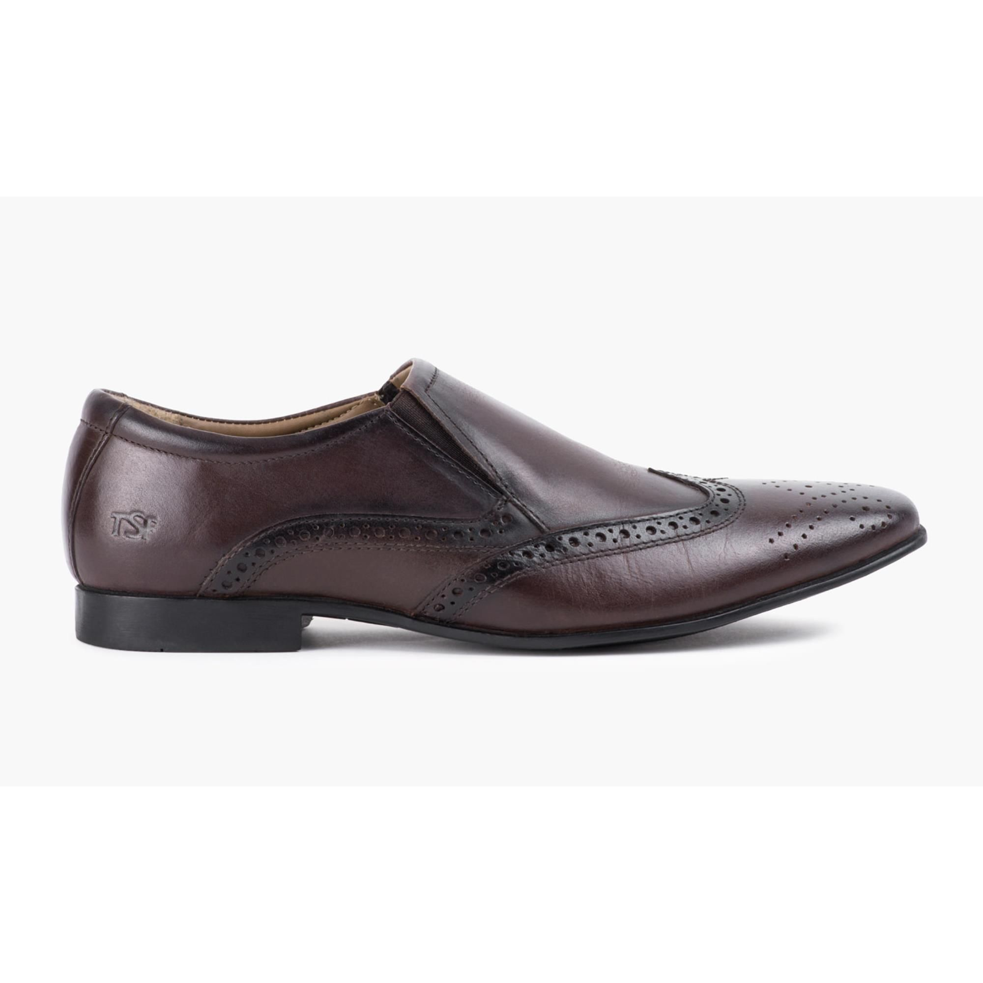 Redfoot Mens Brown Slip On Shoe With Brogue Detail