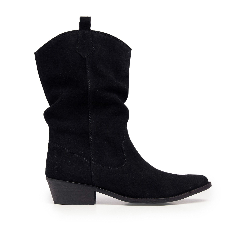 Eva Lopez Leather Grey Boots Women Cowboy Heel
