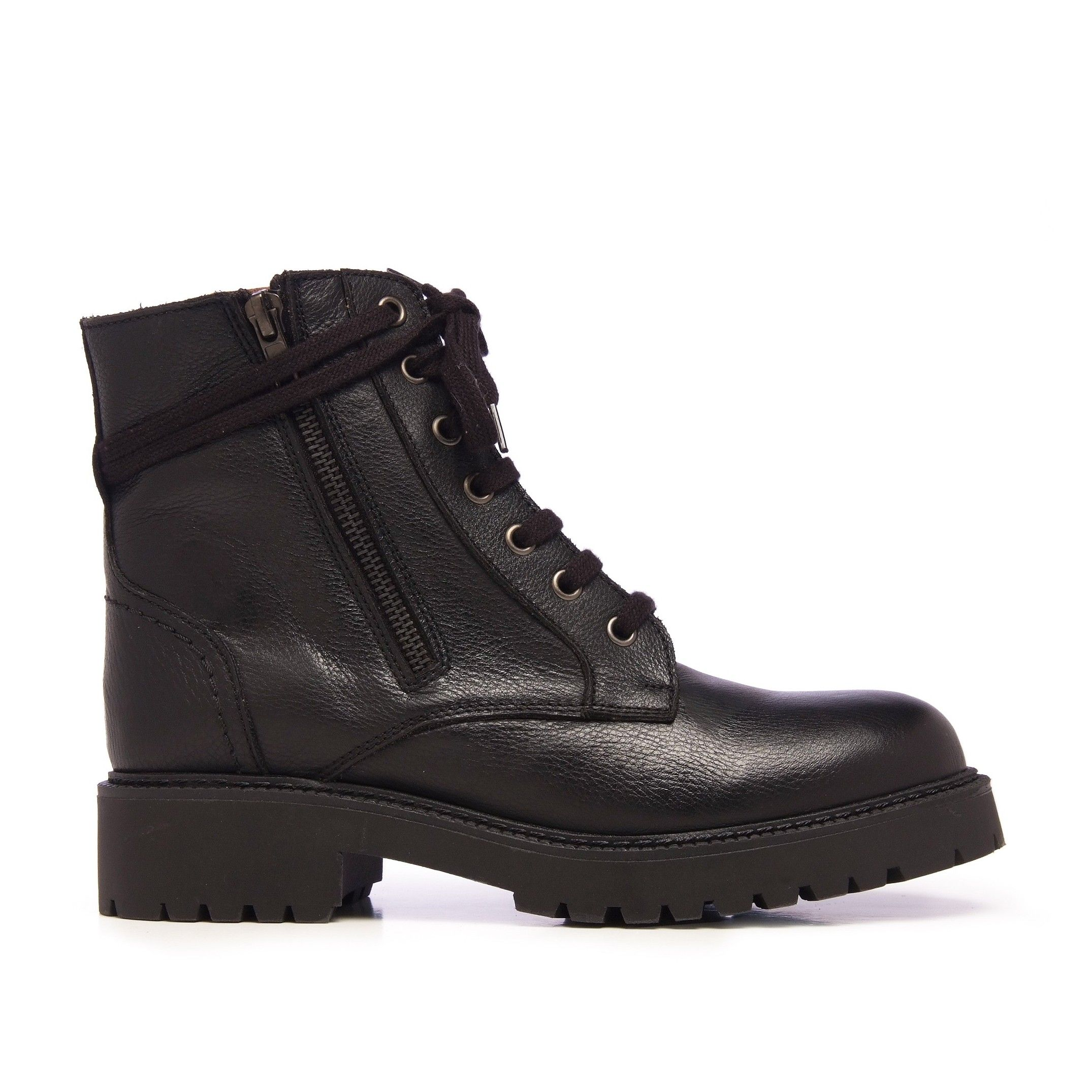 María Barceló Womens Leather Lace-Up Boots in Black