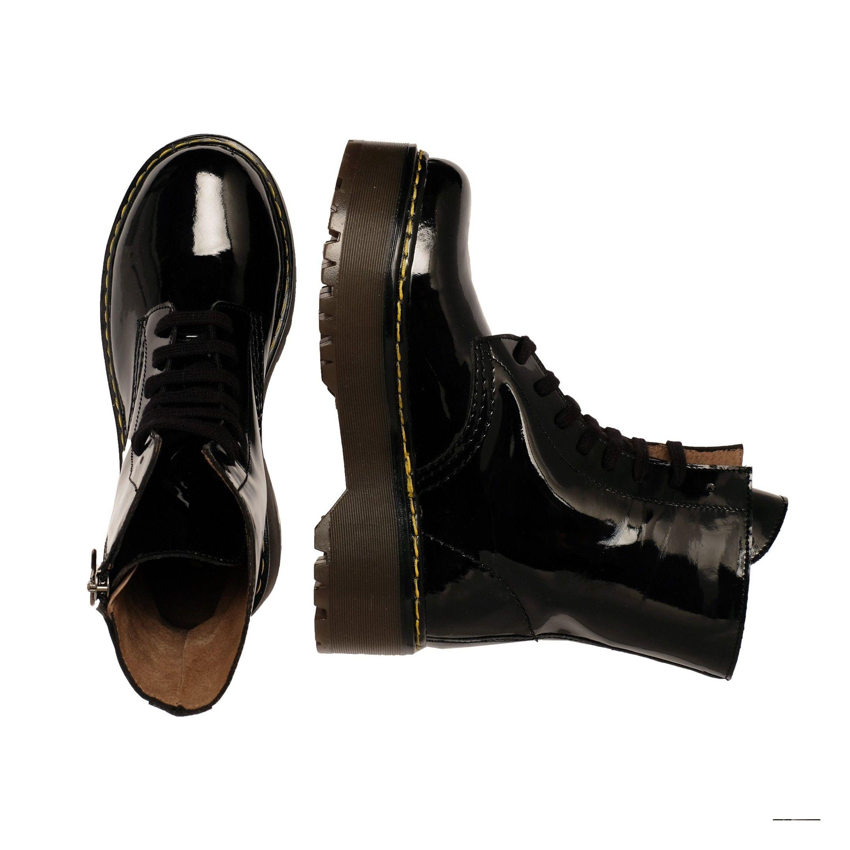 María Barceló Leather Boots Women Laces Black