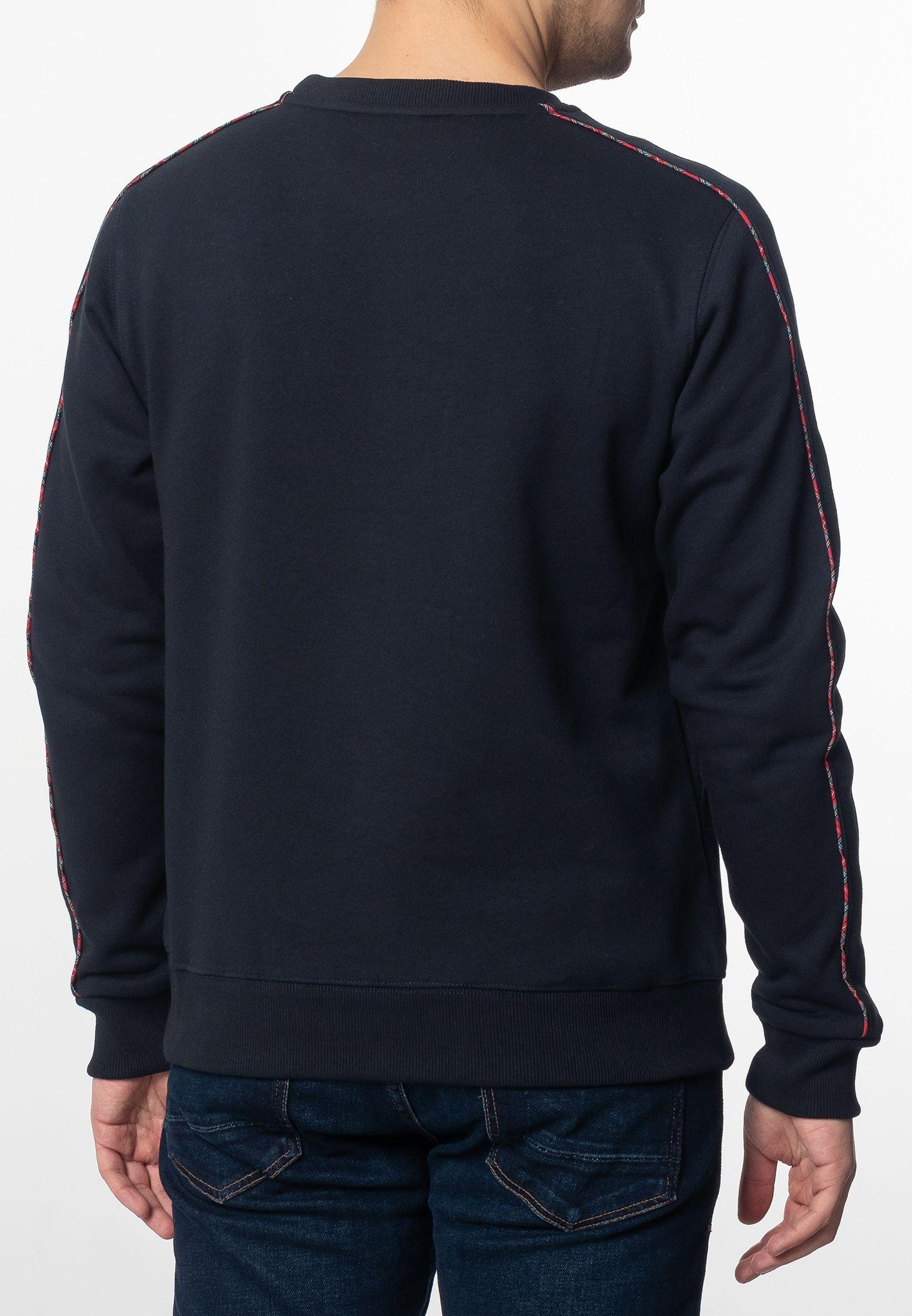Norbury Mens Basic Sweatshirt With Tartan Piping Details In Navy