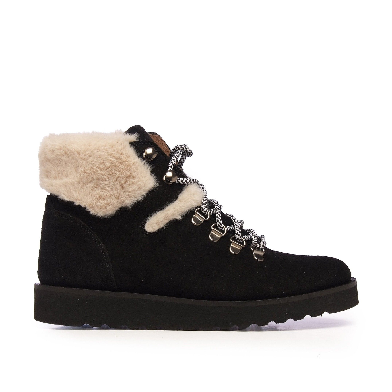 María Barceló Trekking Black Leather Ankle Boots Women Laces