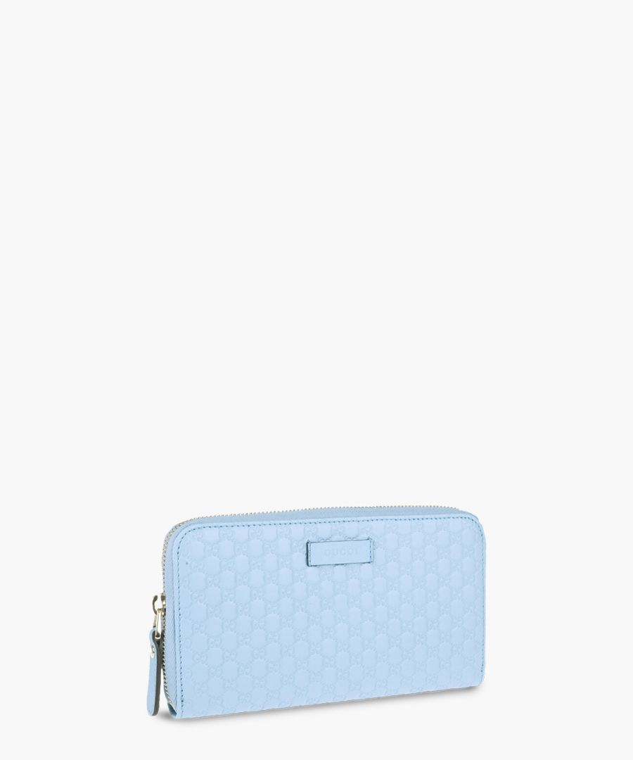 Guccissima pale blue leather zip-up purse
