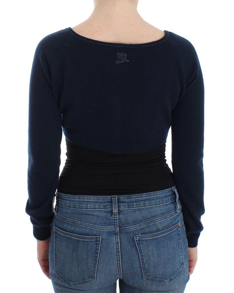 Ermanno Scervino Blue Cashmere Cardigan Sweater