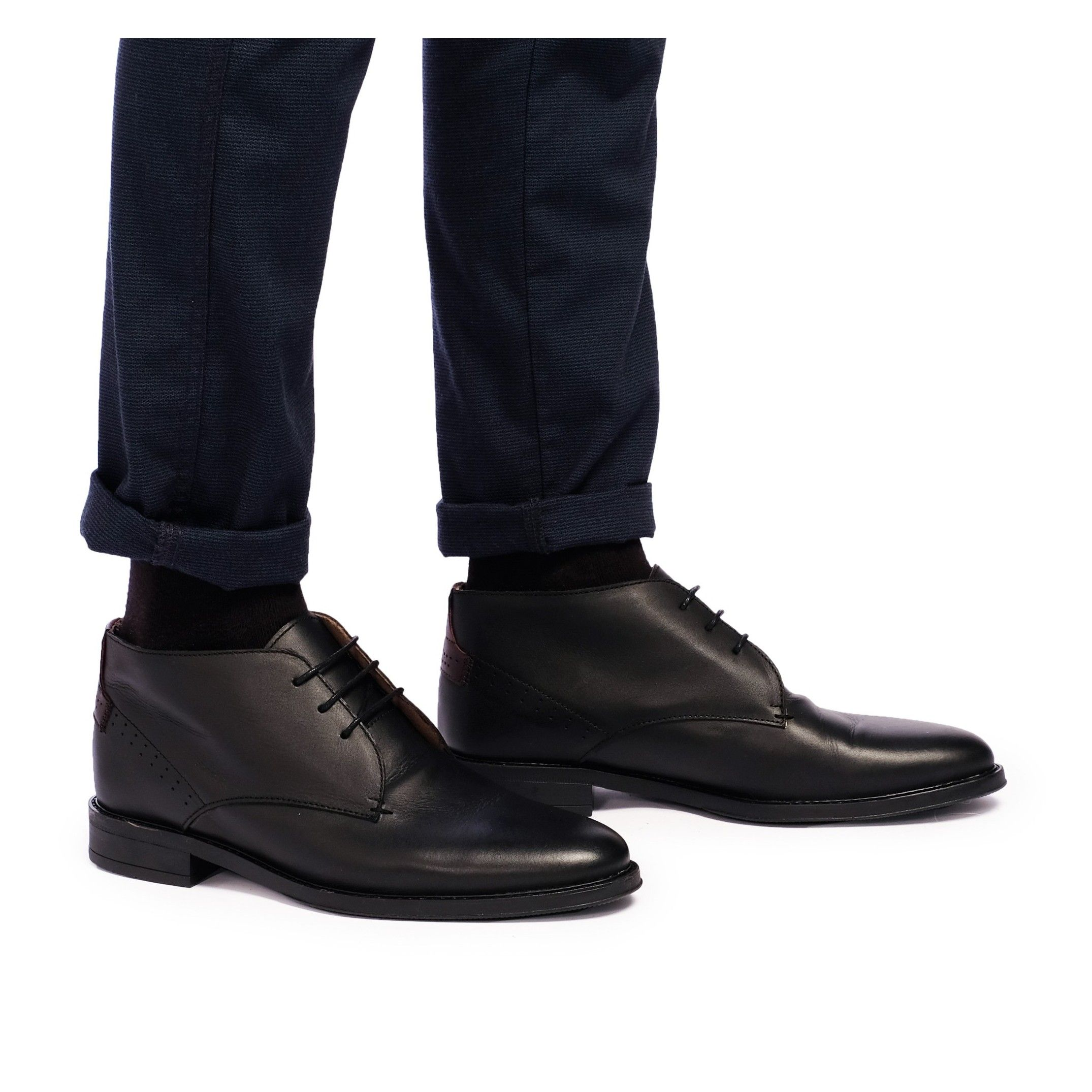 Men's Leather Ankle Boots Shoes Winter in Black