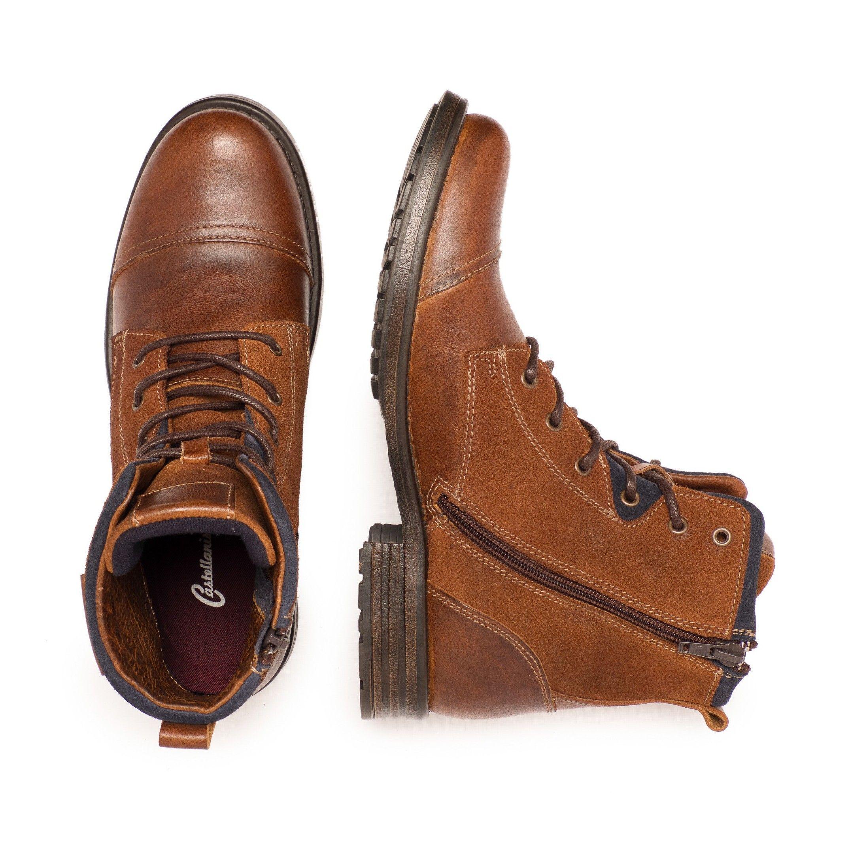 Castellanisimos Leather Cuir Men Boots Winter Shoes Laces