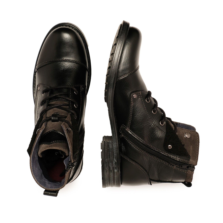 Castellanisimos Leather Black Men Boots Winter Shoes Laces